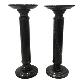 Transitional Hand Carved Black Marble Pedestals Pair For Sale