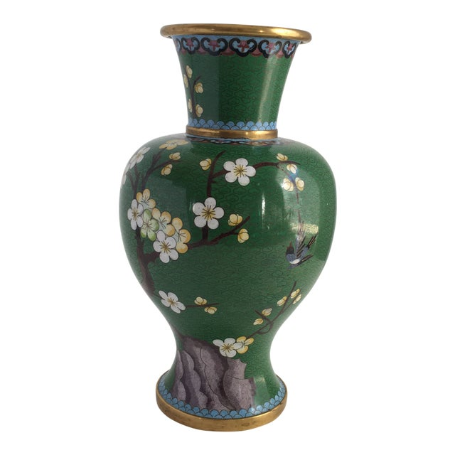 1960s Chinoiserie Kelly Green Large Cloisonné Vase For Sale