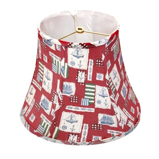 1970s Vintage Nautical Themed Bell Shaped Linen Fabric Lampshade For Sale