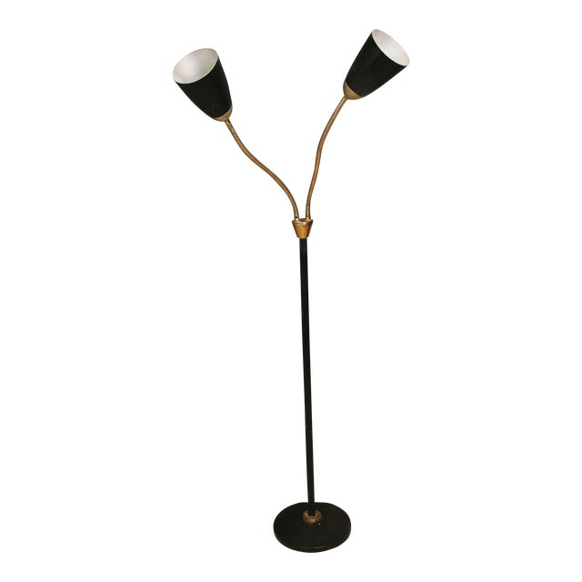 Mid century modern black double gooseneck floor lamp chairish mid century modern black double gooseneck floor lamp aloadofball Gallery