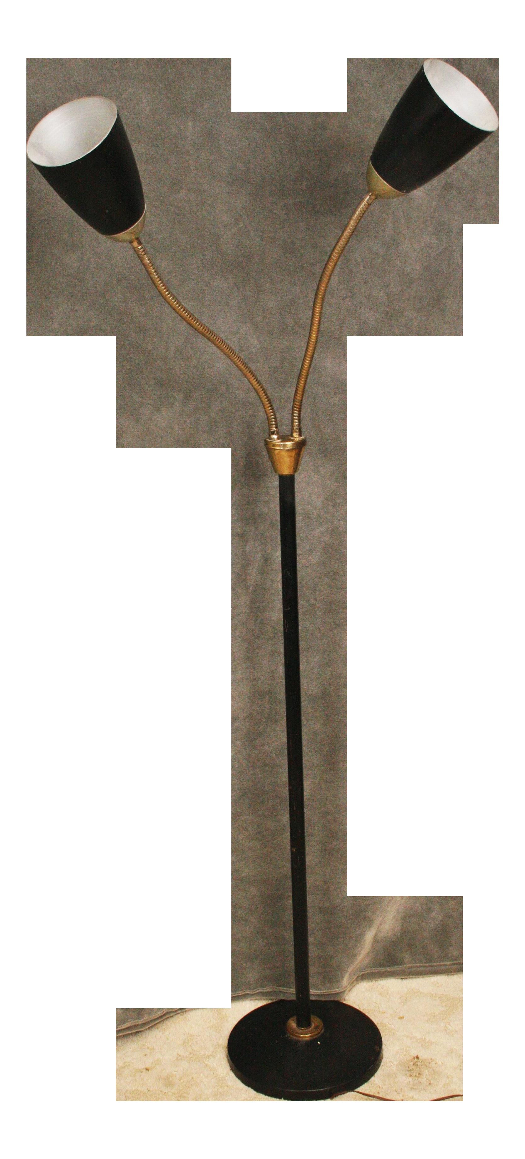 Superb Mid Century Modern Black Double Gooseneck Floor Lamp