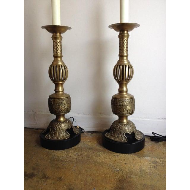 Vintage Satin Brass Altar Stick Lamps - Image 3 of 4