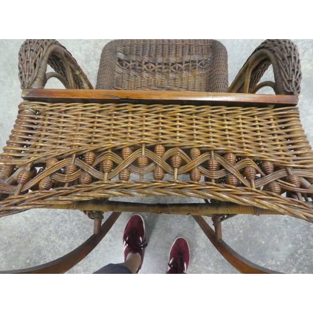 Victorian Heywood Wakefield Wicker Rocking Chair For Sale - Image 12 of 13
