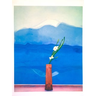 "David Hockney Rare Vintage 1996 Metropolitan Museum Lithograph Print "" Mount Fuji and Flowers "" 1972 For Sale"