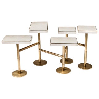 Rotating 5-Top Coffee Table in White Shagreen Bronze-Patina Brass by Kifu Paris For Sale