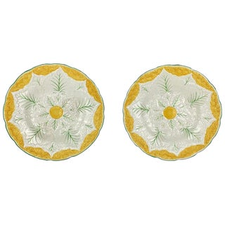 1920s Wedgwood Majolica Cauliflower Plates - a Pair For Sale
