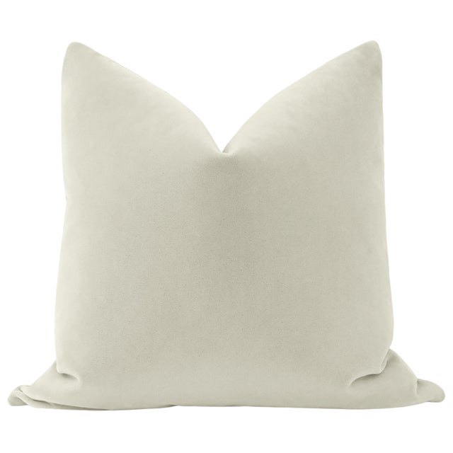 Pair of beautiful custom-made luxury mohair pillows in a Marble colorway. Meticulously handcrafted with serged interior...