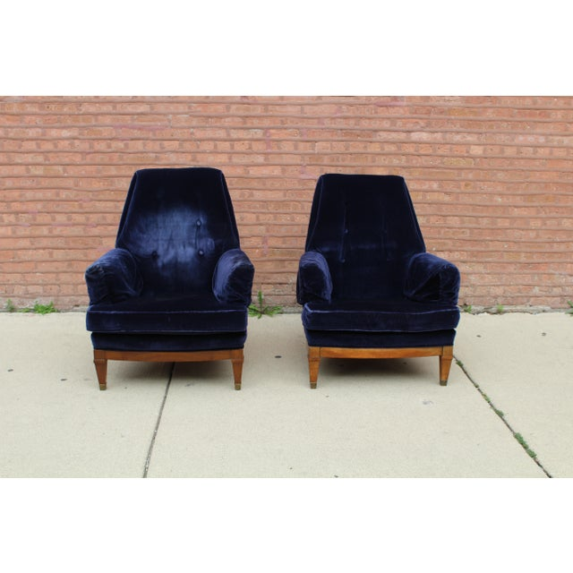 This is a gorgeous pair of vintage, mid century armchairs. These have graduated back cushions, low armrests with removable...