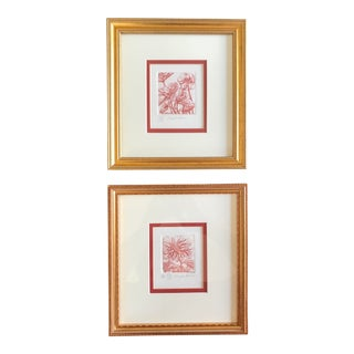 L. Johnson Signed Floral Framed Etching Prints - a Pair For Sale