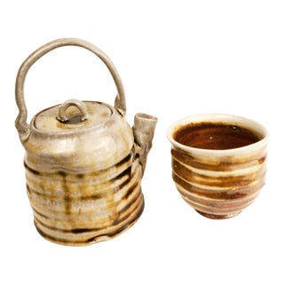 Temmoku Glazed & Soda Fired Teapot & Teabowl For Sale