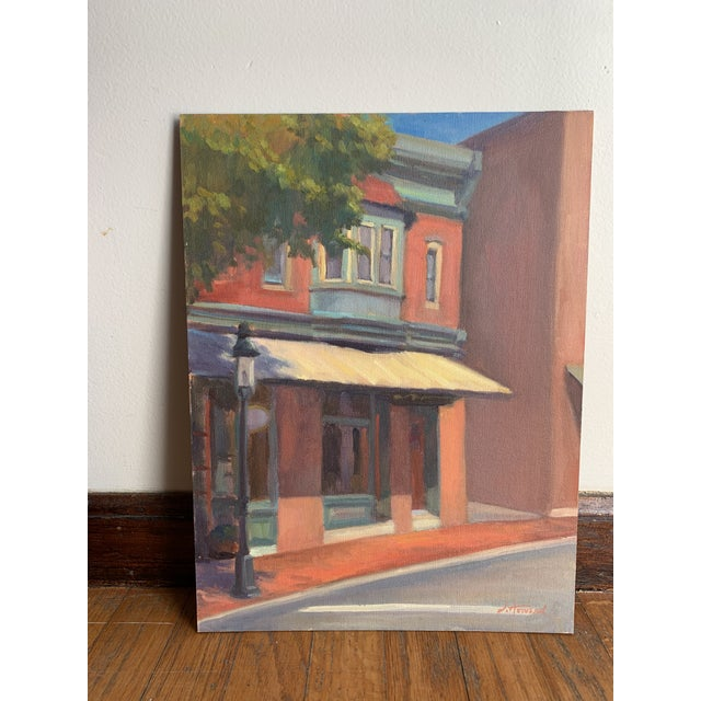 """2010s """"Sidestreet Light"""" Contemporary Realist Architectural Street Scene Oil Painting For Sale - Image 5 of 5"""