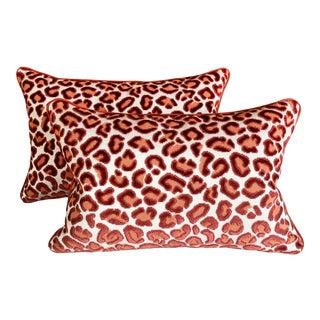 Beacon Hill Cheetah Velvet and Linen Lumbar Pillows - a Pair For Sale