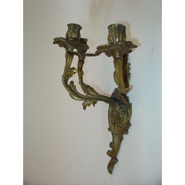 French French Rococo Louis XV Style Bronze Three-Arm Sconces a Pair For Sale - Image 3 of 9