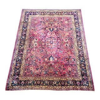 "Antique Meshed Persian Hand-Knotted Wool Area Rug 9' X 12'7"" For Sale"