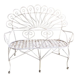 1940s Hollywood Regency White Wrought Iron Garden Bench