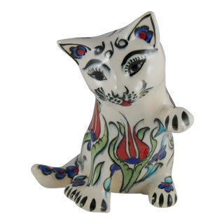 Hand Painted Ceramic Cat Figurine With Tulip Pattern For Sale