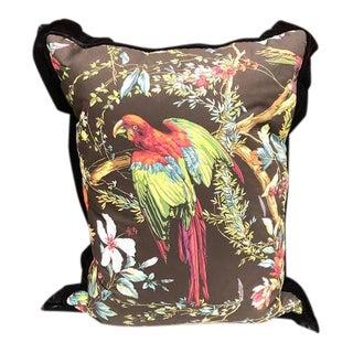 Hollywood Regency Black Velvet Parrot Pillow For Sale