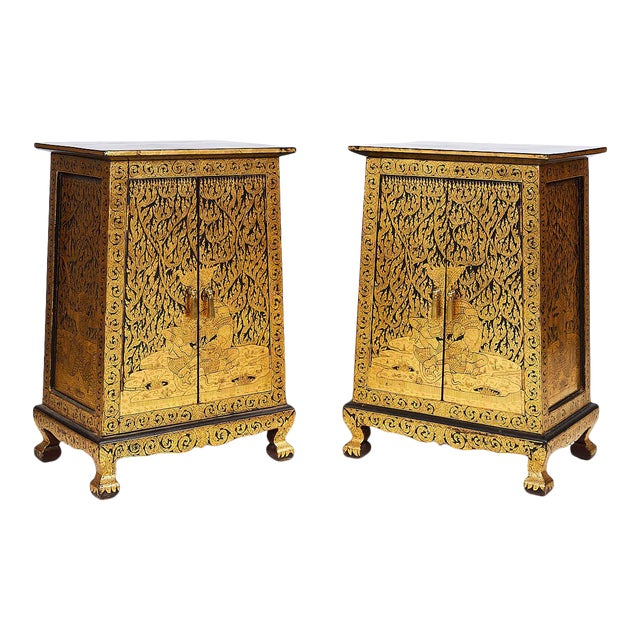 Pair of Thai Manuscript Cabinets of Lacquer and Gold Leaf, 20th Century For Sale