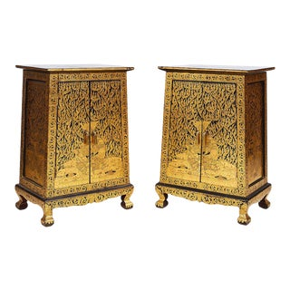 Thai Manuscript Cabinets of Lacquer and Gold Leaf, 20th Century - a Pair For Sale