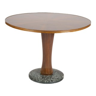 Italian Marquetry Top Center Table in the Manner of Paolo Buffa For Sale
