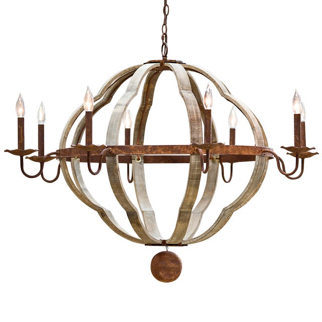 Wood Wooden Quatrefoil Chandelier For Sale - Image 7 of 7