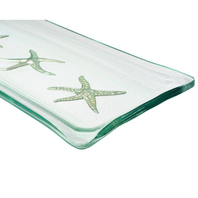Kiln-Formed Art Glass Tray with White Gold Starfish For Sale - Image 4 of 4