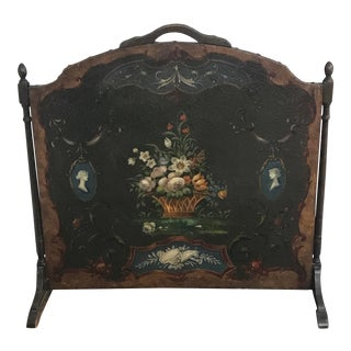 1900s Antique Handpainted Fireplace Screen For Sale