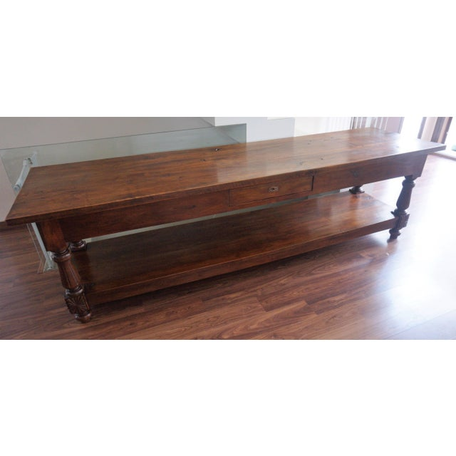 Spanish Large 19th Century Spanish Refectory Walnut Farm Draper´s Table or Console For Sale - Image 3 of 10