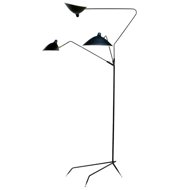 Standing Lamp With Three Arms in Black by Serge Mouille For Sale