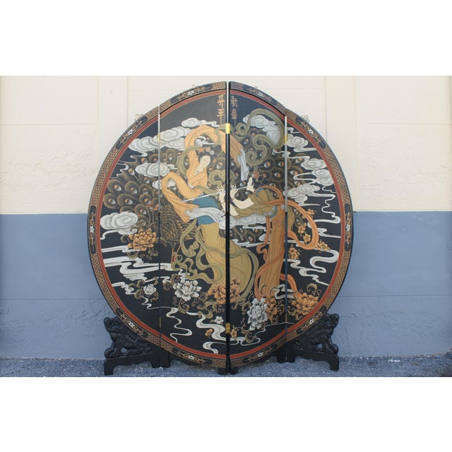 Art Deco Oriental Round Carved Base/ Detailed Room Dividing Screen For Sale - Image 9 of 13