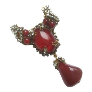 Miriam Haskell Exquisite Scarlet Glass Tear Drop Brooch C 1950 For Sale
