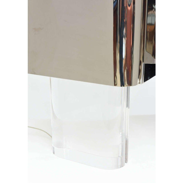 1970s American Modern Pair of Lucite and Polished Chrome Lamps, Karl Springer For Sale - Image 5 of 8