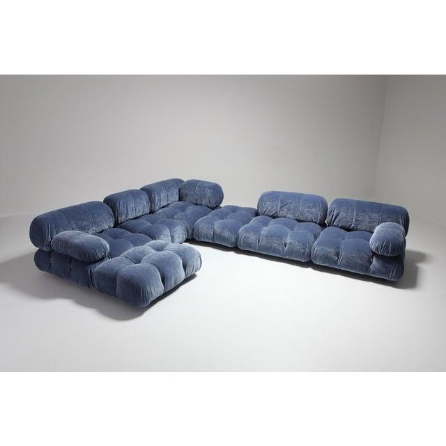 Italian Mario Bellini Camaleonda Sectional Sofa in Blue Velvet For Sale - Image 3 of 9