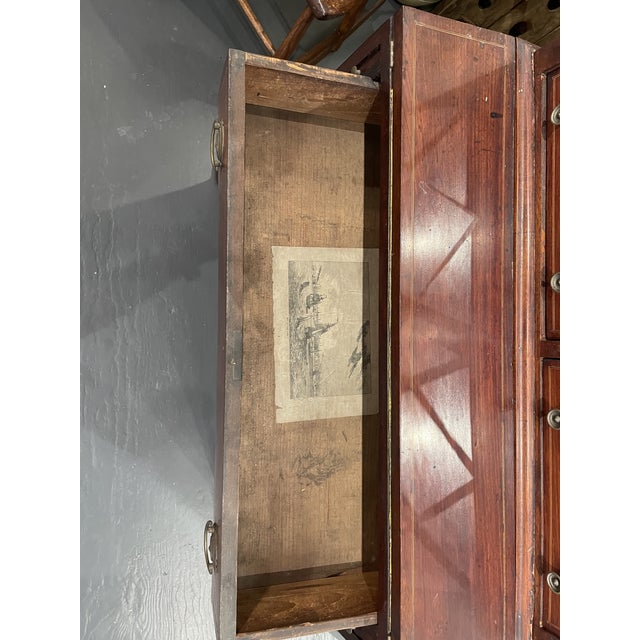 Traditional 19th Century Federal Mahogany Two Part Secretary Desk For Sale - Image 3 of 10