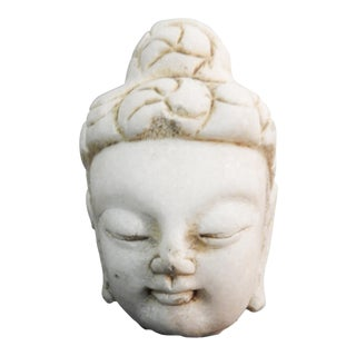 White Marble Buddha Head