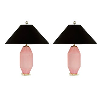 Vintage Pink Murano Art Deco Glass Table Lamp Pair For Sale