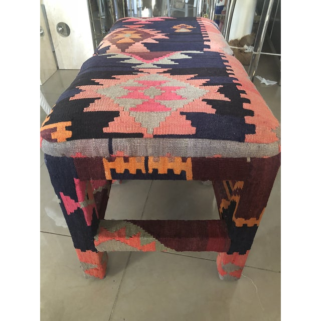 Vintage Boho Kilim Rug Upholstered Benches Stools Ottomans -A Pair For Sale In West Palm - Image 6 of 13