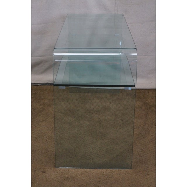 Mid-Century Modern Mid-Century Modern Curved Glass Console Table For Sale - Image 3 of 10