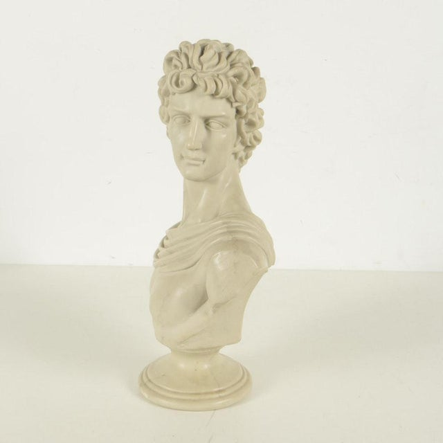 The bust will look good in any room! It is mounted on pedestal base. White marks to neck and hair; darker marks and...