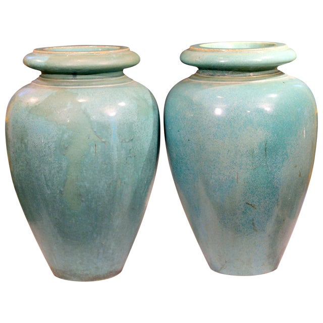 Large Pair of Galloway Terracotta Company Pottery Turquoise Urns Vases For Sale