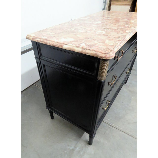 Directoire Style Marble Top Ebonized Commode For Sale - Image 10 of 12