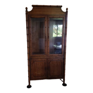 Chinoiserie Style Faux Bamboo China Cabinet For Sale