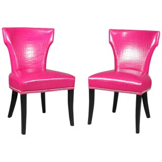 Contemporary Fuschia Alligator Skin Leatherette Accent Chairs - a Pair For Sale