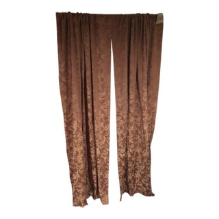 Gold Damask Drapery Panels - A Pair For Sale