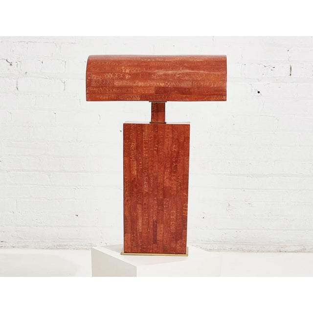 Karl Springer Tessellated Red Coral Stone Table Lamp For Sale In Chicago - Image 6 of 6