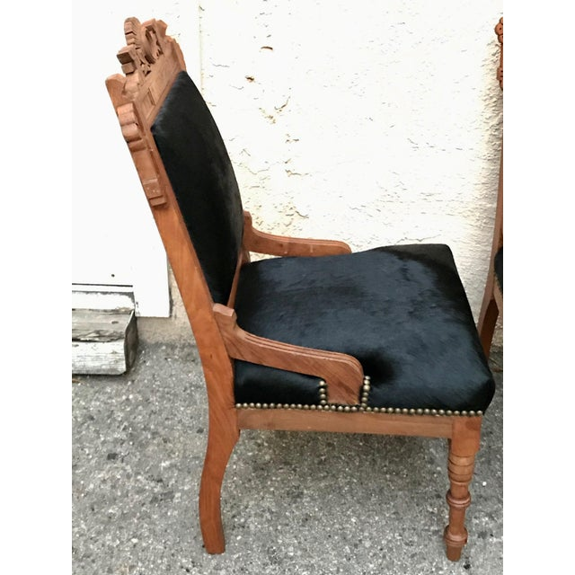 Antique Throne Chairs Reupholstered With Black Hair on Hide - a Pair For Sale - Image 4 of 11