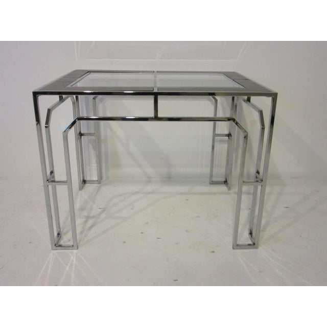 Milo Baughman Milo Baughman Chrome Glass and Wood Side Tables - a pair For Sale - Image 4 of 9