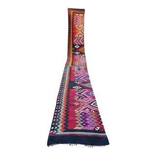 Pink, Orange and Purple Vintage Handmade Stair Kilim Rug Runner - 2′6″ × 23′8″ For Sale