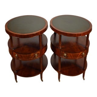 1920s Weiman English Regency Mahogany Inlay Green Leather Top Side Tables - a Pair For Sale