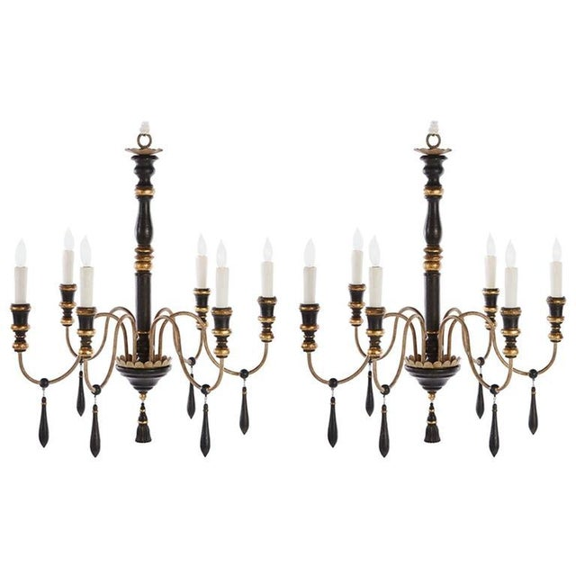 Hollywood Regency Two Regency Style Six-arm Chandeliers With Ebonized Finish For Sale - Image 3 of 3